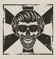 skull music hipster vintage grunge design vector image vector image