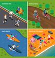 summer outdoor activity people icon set vector image vector image