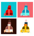 time to travel concept happy family rides car on vector image vector image