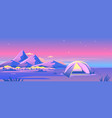 tourist tent camping at night mountains vector image