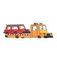 tow truck and car wrecker evacuates auto help on vector image vector image