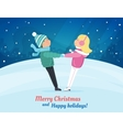 Two cute children skating at ice rink Christmas vector image
