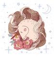 unicorn flower card hand drawn vector image vector image