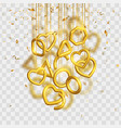 valentines day design with hanging 3d gold hearts vector image