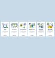 web site onboarding screens software development vector image vector image