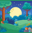 with trees and moon in cartoon vector image