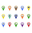 color GPS and Navigation pointer icons set vector image