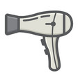 hair dryer colorful line icon household appliance vector image