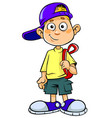 boy with bag vector image vector image