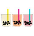 bubble tea cups drawing set vector image vector image
