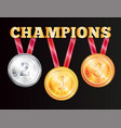champions medals isolated on black background vector image vector image