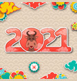 chinese new year 2021 with ox eastern traditional vector image vector image