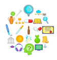 cognition icons set cartoon style vector image