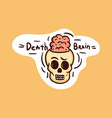 colorful shy skull sticker with death brain vector image vector image