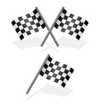 cross and single racing flags with shadow vector image