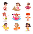 cute cartoon boys and girls playing at the beach vector image vector image