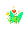 cute flowers leaves and grass in flat style vector image