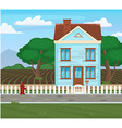 Field and house and tree agriculture cartoon vector image