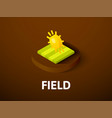 field isometric icon isolated on color background vector image vector image