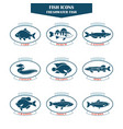 Fish icons in vector image vector image