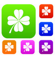 four leaf clover set collection vector image vector image