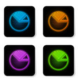 glowing neon pie chart infographic icon isolated vector image vector image