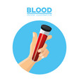 hand holding test tube blood vector image