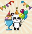 happy birthday card with panda bear vector image vector image