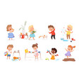 kids destroy little delinquent messy children vector image vector image