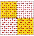 Lips and Hearts Fashion Seamless Backgrounds vector image vector image