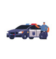 male police officer standing near patrol car vector image vector image