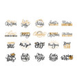 merry christmas festive lettering icons and signs vector image