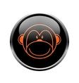 Monkey logo in a black circle vector image vector image