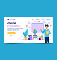 online education landing page male teacher with vector image vector image