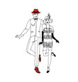pair of smiling man and woman dressed in 1920s vector image vector image