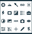 photo icons set with exposure blur circle and vector image vector image