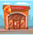 pizzeria pizza house food and meal eatery place vector image vector image