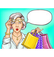 pop art surprised old woman with shopping bags vector image vector image