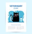 poster veterinary clinic happy cat looks vector image