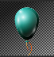 realistic dark jade balloon with ribbon isolated vector image vector image