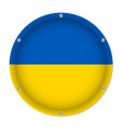 round metallic flag of ukraine with screws vector image