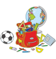 Schoolbag globe and ball vector image vector image