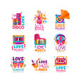 set bright music logos with musical instruments vector image
