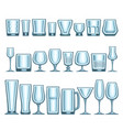 set of different glassware vector image vector image