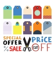 Set of ten different blank price or gift tags vector image vector image