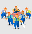 smiling builders on construction site vector image