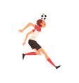 soccer player shooting ball with head football vector image vector image
