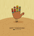 thanksgiving card with hand print turkey vector image vector image