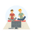 two guys playing games on his big flat television vector image