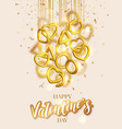 valentines day greeting card design with hanging vector image vector image